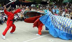 Snake killer: A man fights against a giant snake in a Le Mat village performance.